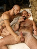 Hairy gay man gets his horny asshole fucked hard and deep in the hayloft