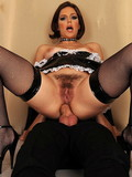 stockinged-brunette-in-black-uniform-made-of-latex-gets-her-asshole-stretched