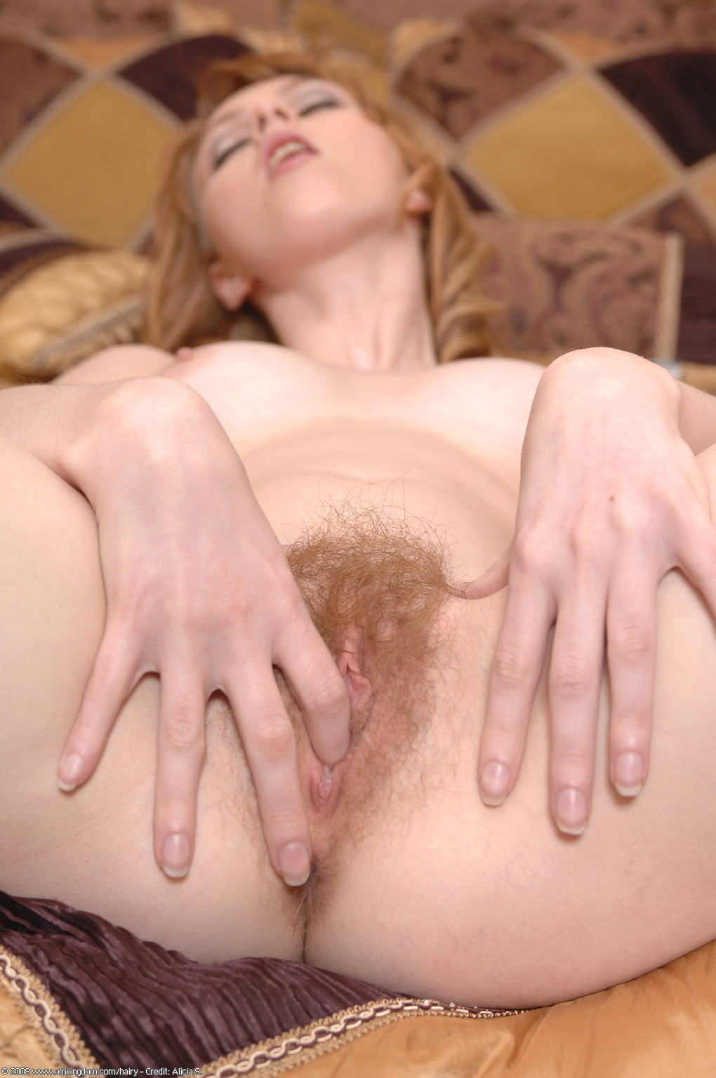 Natural Strawberry Blonde Hairy Pussy