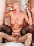Four skinny boys team up to fuck well experienced blonde-haired mature slut