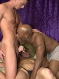 Black and white bisexual guys share a curious blonde in interracial threesome