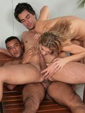 Blonde gets fucked by two bisexuals that take care of each others asses and cocks too
