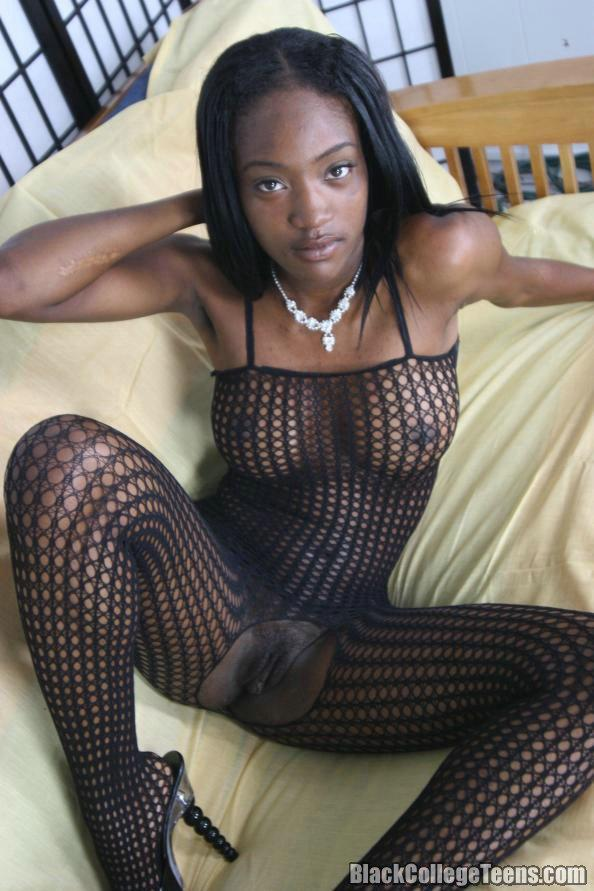 college girls naked wet black pussy - Black college girl strips out if her fishnet body stocking and gets her wet  pussy slammed