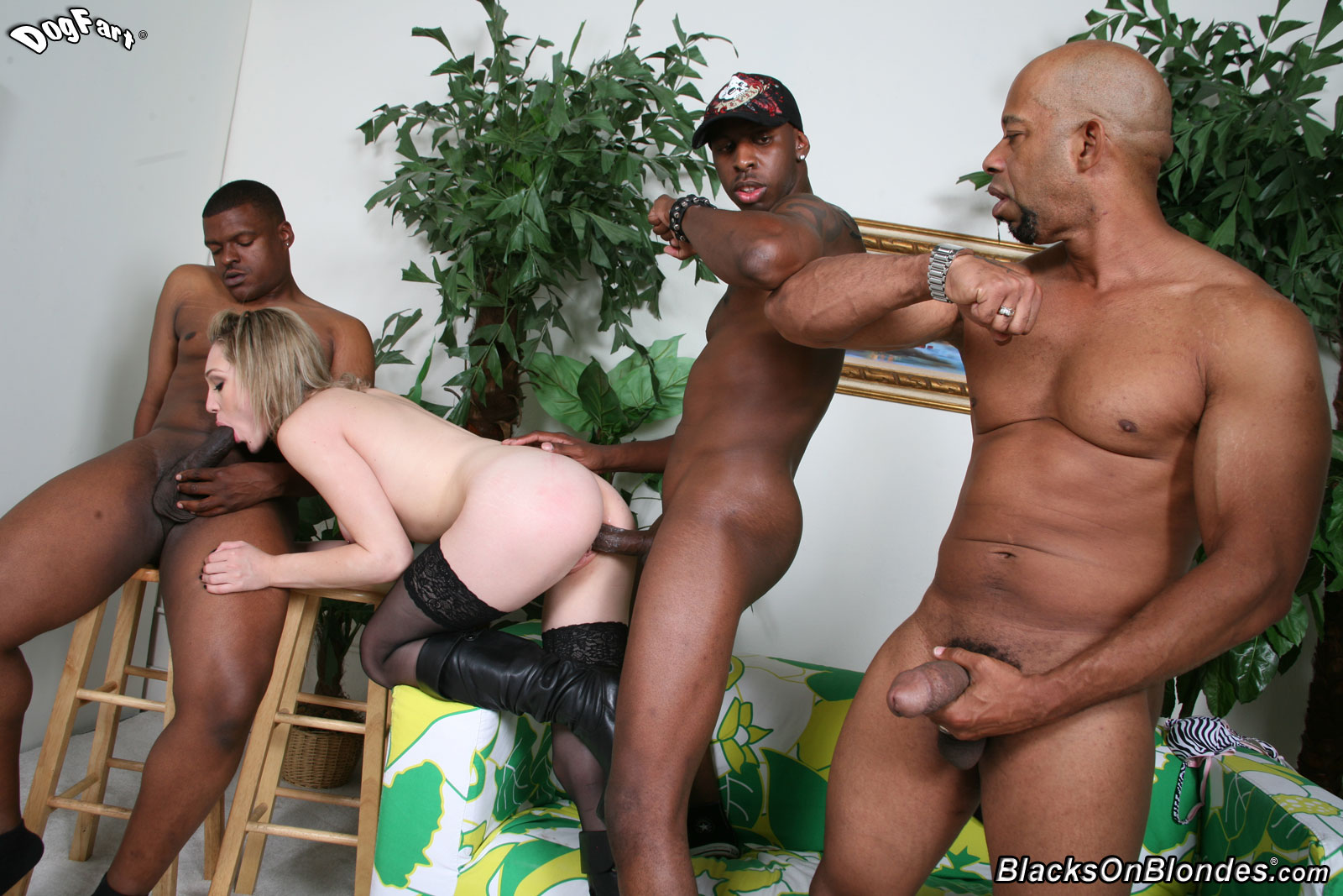 gangbang o face - Slim bitch in black nylons and mini skirt milks two juicy cocks and gets  her face cum covered