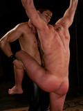 Rope tied men get their asses used by gay master after humiliation in a public toilet