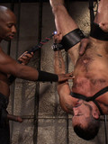 Black gay master fucks the shit out of his hairy white slave using his stiff dark dick
