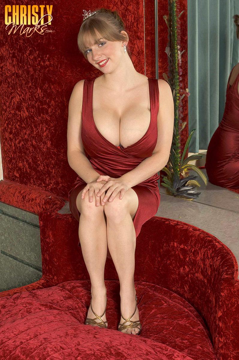 Christy marks red dress