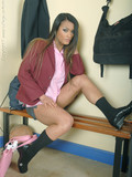 exotic-college-babe-in-boots-and-short-skirt-takes-off-her-pink-blouse-and-black-bra