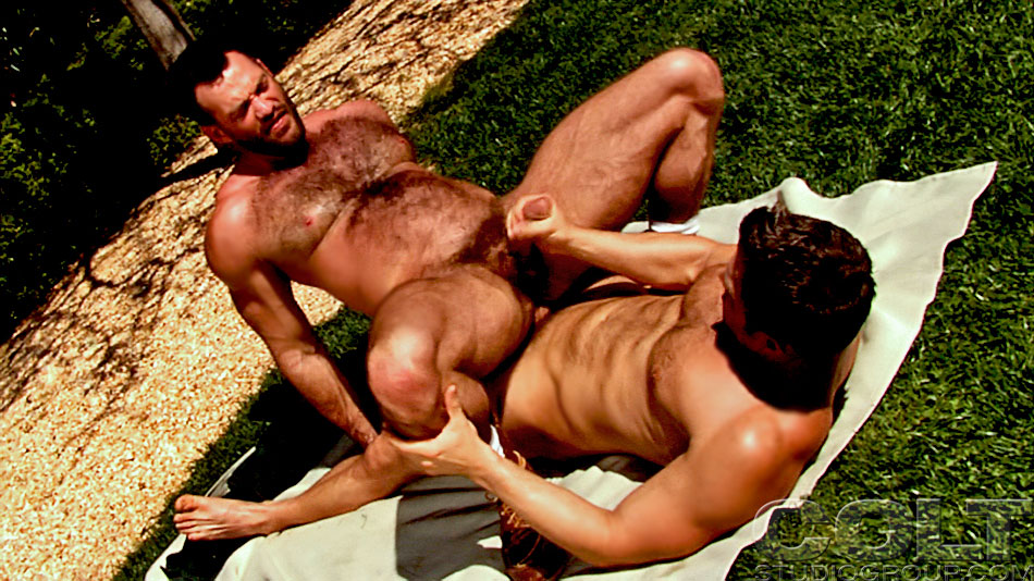 group hairy fuck - Hairy chested man and another strong gay guy have hard man-on-man sex by  the pool