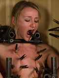 Restrained nude shaved slave girl gets toyed and water tortured in a wooden box