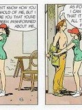 dirty-comics-about-shameless-brunette-in-short-green-dress-and-red-cap