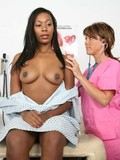 chocolate-skinned-chick-spreads-her-legs-for-white-female-doctor-in-pink-uniform
