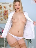 Naughty nurse strips naked and opens her pussy to give a close-up of her pink hole