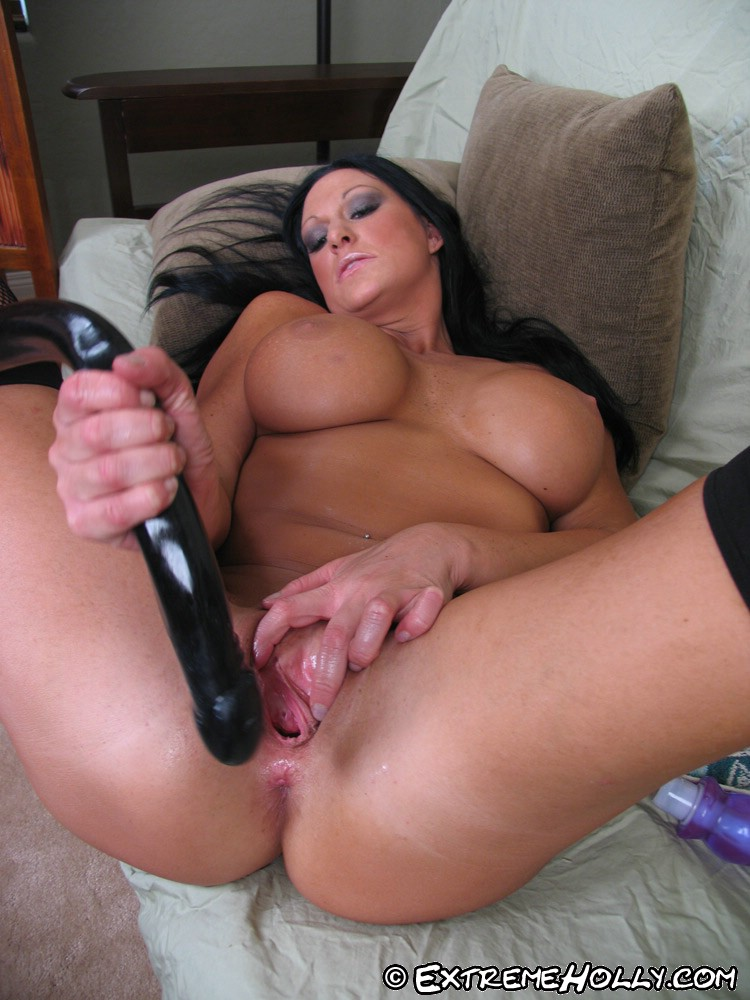 Large jugged brunette plays with her pussy 6