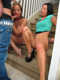 lustful-brunette-and-her-friend-suck-and-fuck-sturdy-cock-on-the-stairs