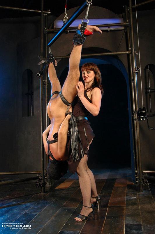 Male Slave Gets Suspended And Tied Up