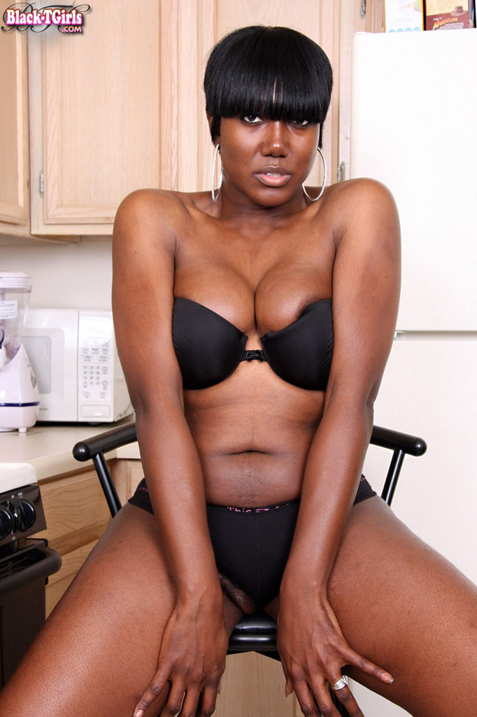 matching bra and panties shemale - Dark skinned shemale pulls off her black bra and panties before solo with  her cock