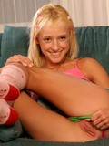 tight-fair-haired-lass-sticks-pink-dildo-in-her-hole-without-removing-her-green-panties