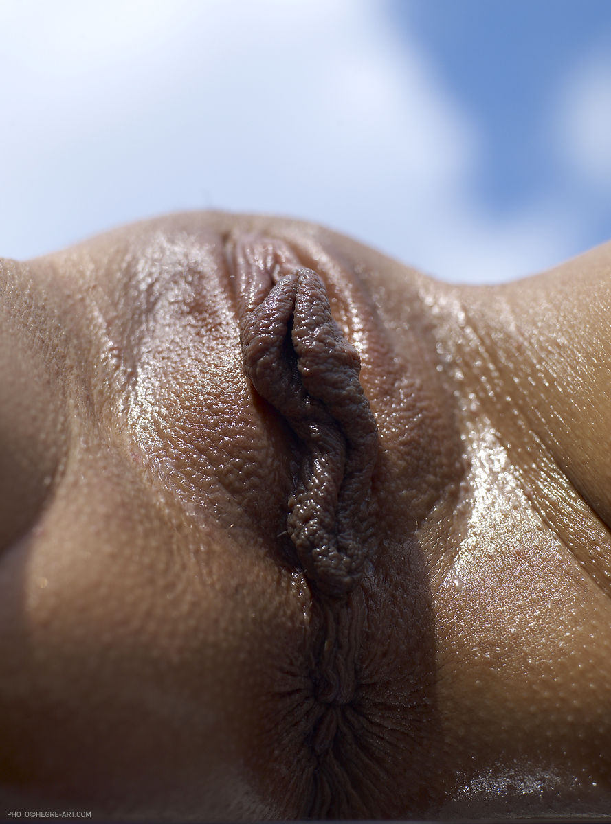 Oiled Skin Lies In The Sun Showing Her Nude Pussy And Ass Close Up