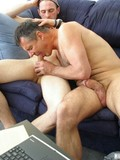 Horny gay daddy and his younger friend suck each others poles then jerk off