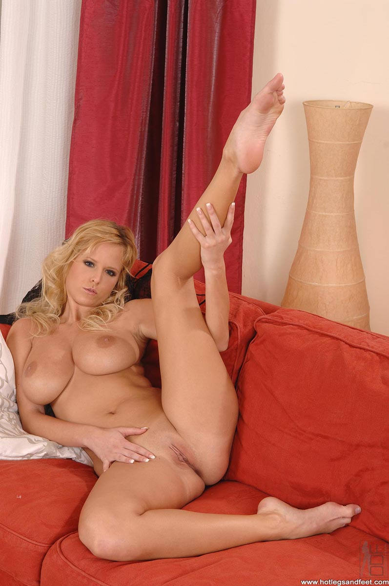 nude blonde with perfect big tits and gorgeous long legs exposes her