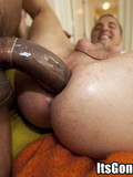 Chocolate guy inserts his monster cock in white needy ass of his gay buddy