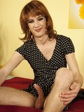 skinny-crossdresser-in-redhead-wig-puts-on-tight-pantyhose-then-plays-with-himself
