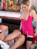 lady-in-bright-pink-dress-shoves-brown-strap-on-dildo-in-waiter-s-virgin-ass