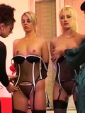 two-sexy-dressed-blondes-getting-dominated-by-two-rude-lesbian-brunettes