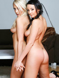 Two very attractive babes, blonde and brunette, bare it all as they love to show off their sexy bods