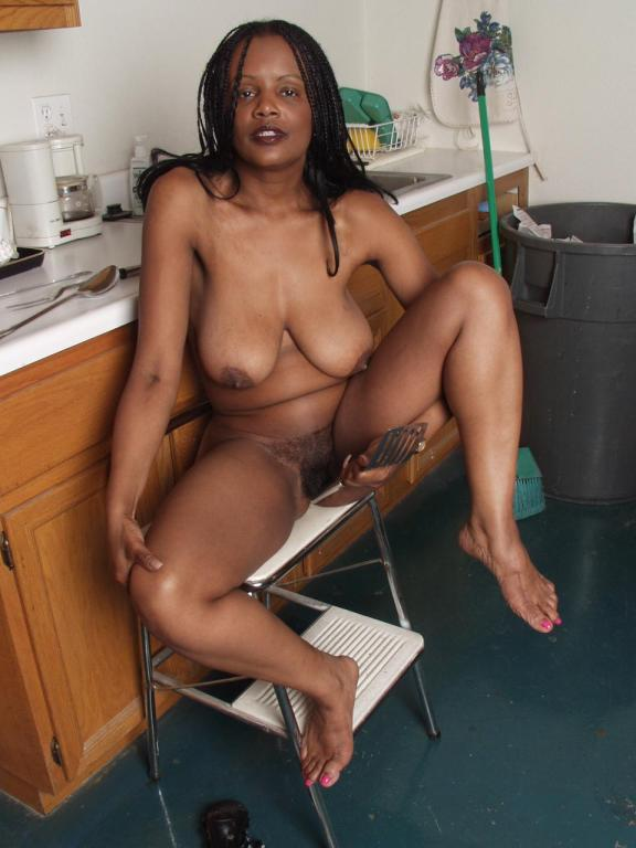 black mature big tits in panties - Black milf plays with her big tits after she takes off her dress and panties  in the kitchen