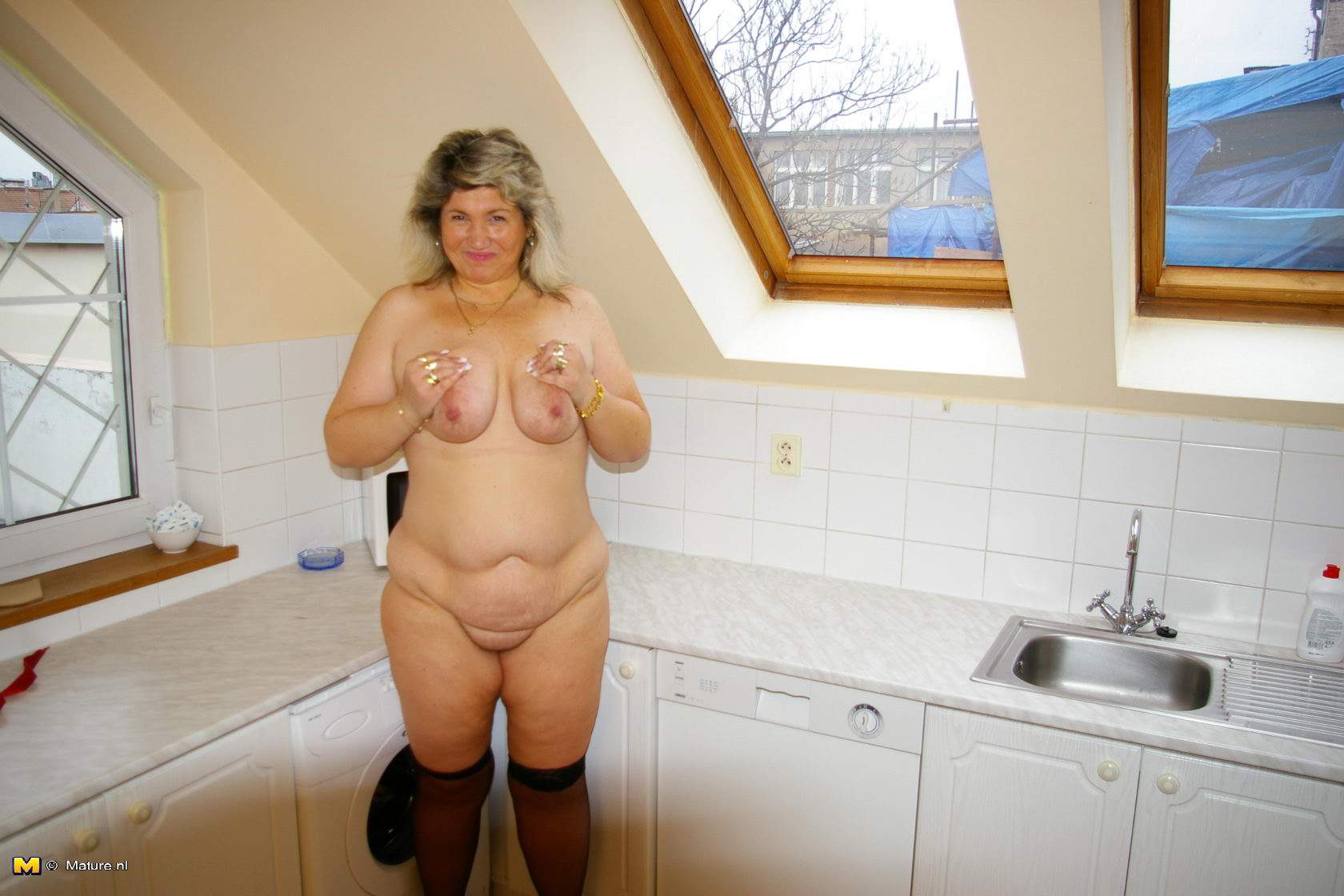 Getting to the kitchen chubby mature strips and saddles her favorite ...