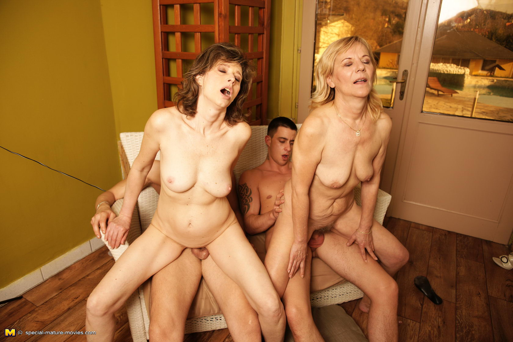 multiple horny mature sluts get seriously fucked and pissed on side
