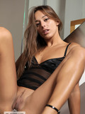 Slim shaved pussy girl in high heels spreads her incredibly sexy long legs