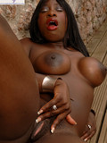 Watch the crazy posing session from the black pornstar sitting naked on the bench