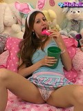the-pretty-chippy-in-funny-cloths-enjoying-her-food-and-spreading-the-legs-on-camera