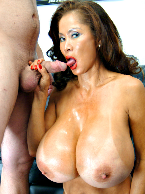 Tanlined mature brunette with giant round juggs gets her ...