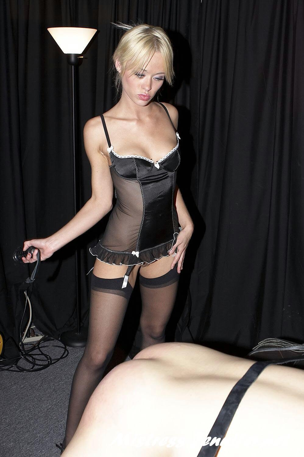 Dom blond mistress big cock tugjob 6