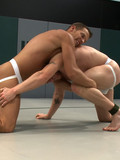 Stronger guy fucks weaker one in the ass during nude gay wrestling match
