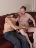 Mature gay man strips nude then asks his young friend to give him a blowjob