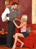 fine-looking-leggy-blonde-in-short-skirt-drinks-fresh-cum-after-blowjob