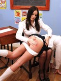 blonde-in-black-skirt-and-white-panties-gets-spanked-by-her-lesbian-classmate