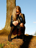 tall-leggy-girl-in-jean-mini-skirt-and-high-nylon-socks-pisses-in-the-woods
