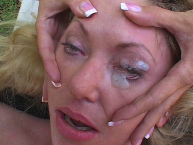 Blonde Whore Gets Sperm Right In Her Eyes After Wild Titjob In The Open Air