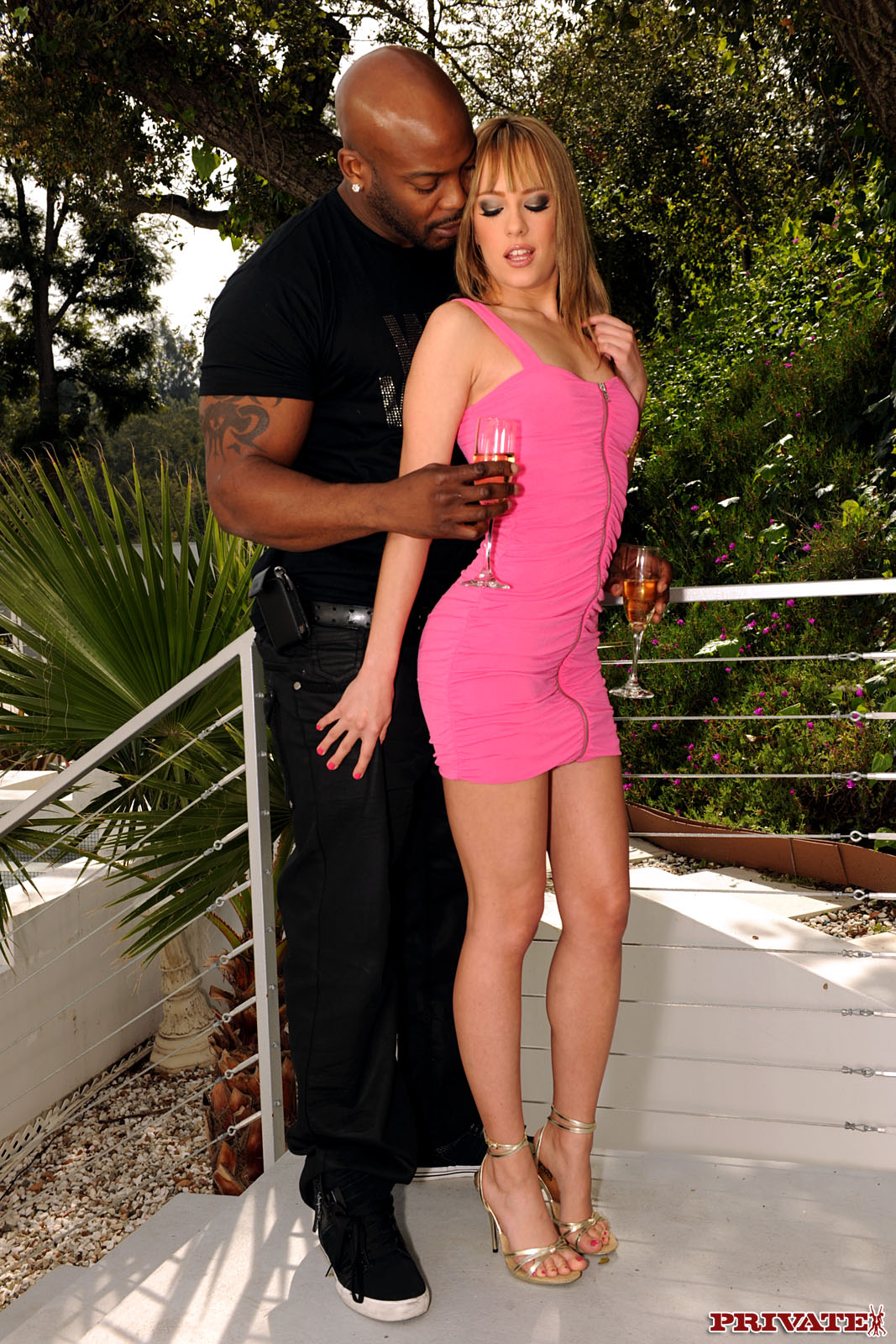 interracial porn blue dress - Slim babe lifts up her short pink dress to take black cock up her horny  pussy