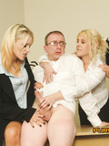 four-eyed-man-gets-his-ass-spanked-and-his-cock-stroked-by-three-clothed-office-ladies