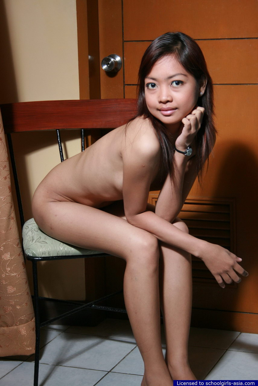 cute asian schoolgirl - Skinny asian schoolgirl with cute bush removes her tiny blue skirt and  panties
