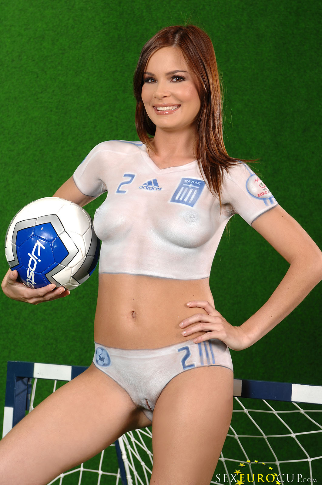 girl body painting pussy Pretty faced smiling babes with perfect bodies pose in painted soccer  uniforms