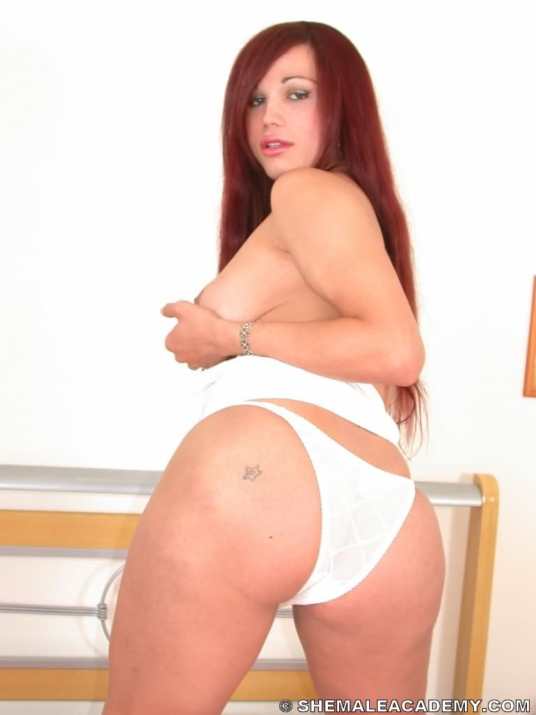 And Sey White Panties Provoking Red Haired Shemale Shows Her Big Dick