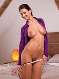 big-racked-brunette-milf-in-purple-blouse-pulls-off-her-panties-and-enjoys-fat-blue-dildo